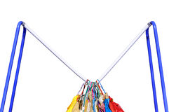 Deduct rail. Clothes on hanger deduct rail, isolated on white background stock image