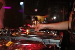 Dee-jay desk. DJ playing music Royalty Free Stock Photo