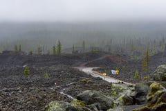 Dee Wright Observatory View de camas de lava Foto de Stock