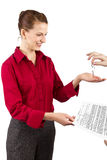 Deed Of Sale. Woman holding keys and a deed of sale contract Stock Photography