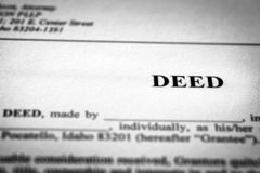 Deed to Real Estate Transfer Title. Ownership to land or home royalty free stock photo