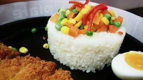 deeffrirefisk med ris Arkivbild