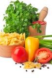 Deegwaren en groente Stock Afbeeldingen