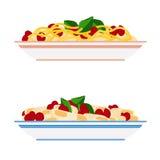 Deegwaren en spaghettiplaten Stock Foto's