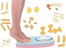 Deegwaren gebaseerd dieet stock illustratie