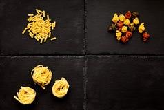 Deegwaren Macaroni, Tagliatelle, trottole, tricolore royalty-vrije stock foto