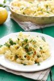 Deegwaren met kaas en citroenschil Royalty-vrije Stock Fotografie