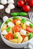 Deegwaren met mozarella en tomaat Royalty-vrije Stock Foto's