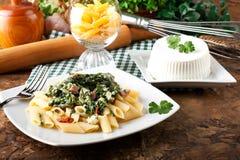 Deegwaren met ricotta en spinazie Royalty-vrije Stock Afbeelding