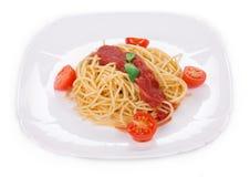 Deegwaren met tomatensaus Stock Foto's