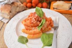 Deegwaren met vers de kaas Italiaans gastronomisch voedsel van het tomatenbasilicum op houten lijst stock foto's