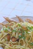 Deegwaren met zeevruchten Stock Foto