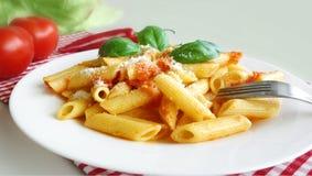 Deegwaren Penne Tomato Sauce Royalty-vrije Stock Fotografie