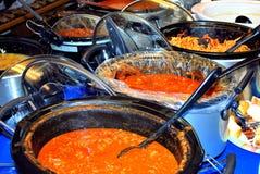 Deegwaren potluck diner Stock Foto