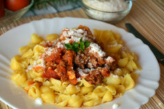 Deegwarenitaliana met vlees en tomatensaus en parmezaanse kaaskaas Royalty-vrije Stock Foto's