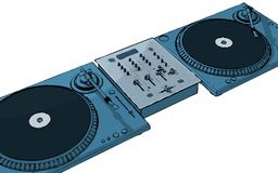 Deejay. Turntables with audio mixing console (+ vector eps format vector illustration