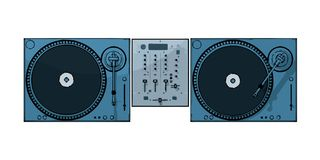 Deejay. Turntables with audio mixing console (vector eps format Stock Photography
