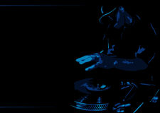 Deejay. Blue dj on a black background Royalty Free Stock Photo