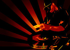Deejay. Abstract illustration of a deejay in action Stock Photo