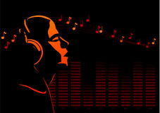 Deejay. Abstract vector of a deejay listening to music Stock Photos