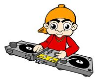 Deejay DJ. DJ with two turntables and mixer Royalty Free Stock Photo