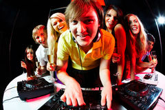 Deejay and friends Stock Photography
