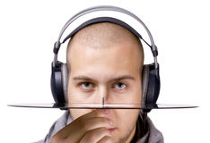 Deejay with headphones and vinyl Stock Photography
