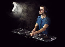 Deejay mixing on vinyl Stock Photography