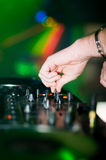 Deejays hand and turntable Royalty Free Stock Photos
