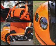 Deel oranje auto op asfaltachtergrond Oranje luxeauto royalty-vrije stock foto's