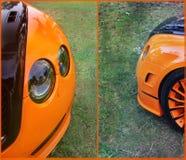 Deel oranje auto op asfaltachtergrond tuning Oranje luxeauto royalty-vrije stock fotografie
