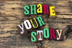 Deel uw letterzetsel van het verhaalcitaat stock afbeelding