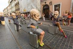 Deelnemers bij het jaarlijks (9-12 Juli) 28ste Internationale Festival van Straattheaters Stock Afbeelding