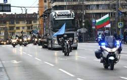Deelnemers in de motorfietsoptocht op 28 maart 2015, Sofia, Bulgarije Stock Foto