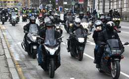 Deelnemers in de motorfietsoptocht op 28 maart 2015, Sofia, Bulgarije Stock Fotografie