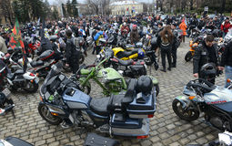 Deelnemers in de motorfietsoptocht op 28 maart 2015, Sofia, Bulgarije Royalty-vrije Stock Afbeeldingen