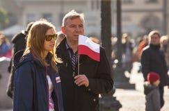 Deelnemers die Nationale Onafhankelijkheidsdag vieren een Republiek Polen - is een openbare holida Stock Foto