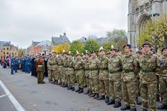 Deelnemers die van Poppy Parade 100 jaar van Wereldoorlog I herdenken Royalty-vrije Stock Foto