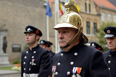 Deelnemers die van Poppy Parade 100 jaar van Wereldoorlog I herdenken Royalty-vrije Stock Fotografie