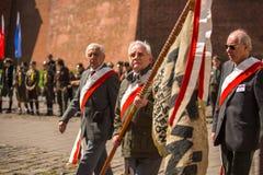 Deelnemers jaarlijks van Poolse nationaal en officiële feestdag de 3 de Grondwetsdag van Mei Stock Afbeeldingen