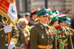 Deelnemers jaarlijks van Poolse nationaal en officiële feestdag de 3 de Grondwetsdag van Mei Stock Foto