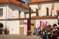 Deelnemers jaarlijks van Poolse nationaal en officiële feestdag de 3 de Grondwetsdag van Mei Stock Afbeelding