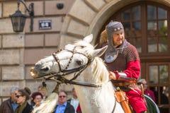 Deelnemers jaarlijks van Poolse nationaal en officiële feestdag de 3 de Grondwetsdag van Mei Royalty-vrije Stock Fotografie