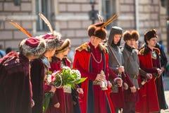 Deelnemers jaarlijks van Poolse nationaal en officiële feestdag de 3 de Grondwetsdag van Mei Royalty-vrije Stock Foto