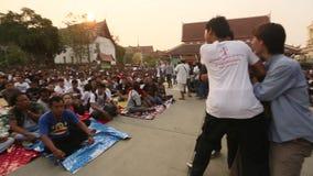 Deelnemers van Hoofddagceremonie in bekwame Khong Khuen stock footage