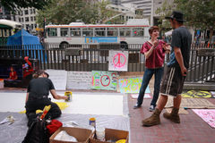 Deelnemers van Occupy San Francisco beweging Stock Afbeelding