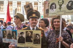 Deelnemers van Onsterfelijk Regiment - openbare actie royalty-vrije stock fotografie