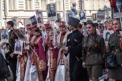 Deelnemers van Onsterfelijk Regiment - openbare actie royalty-vrije stock afbeeldingen