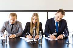 Deelnemers van persconferentie Royalty-vrije Stock Foto
