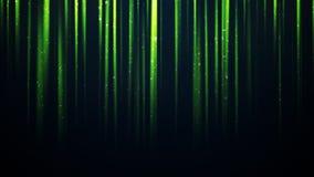 Deeltjes in verticale groene lichtstralen Stock Foto
